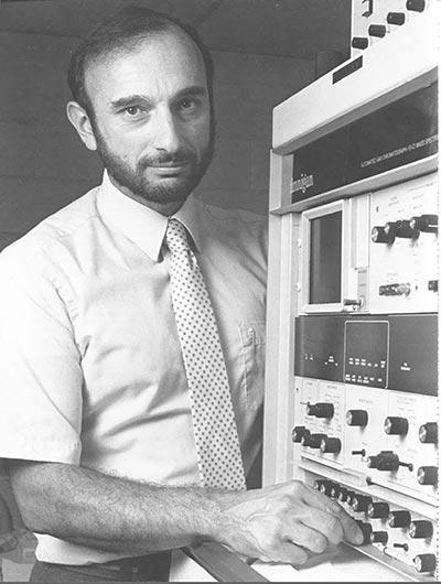 George Preti with Finnigan Mass Spectrometer
